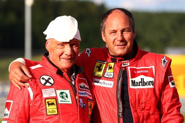 Niki Lauda (left) and Gerhard Berger are two greats of Formula 1.
