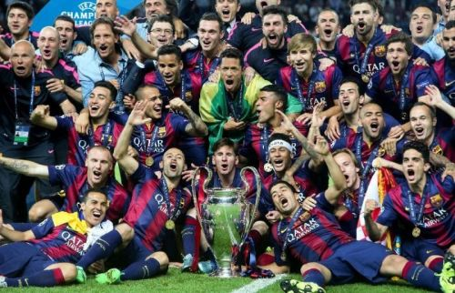 Barcelona celebrating previous Champions League success.