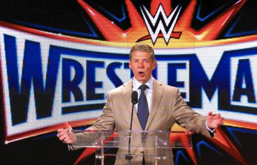 Image result for vince mcmahon wrestlemania press conference
