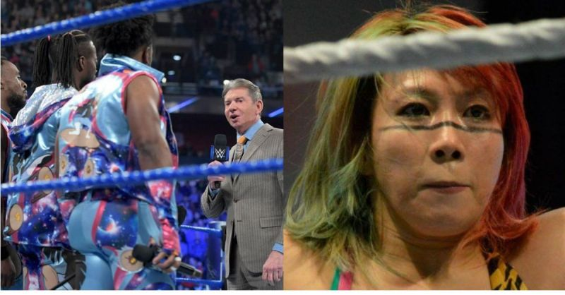 Vince McMahon with The New Day, and Asuka