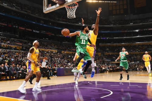 Action from LA Lakers vs Boston Celtics game