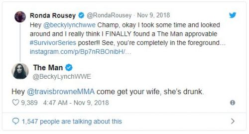 Just one among many instances of Becky destroying Ronda on Twitter