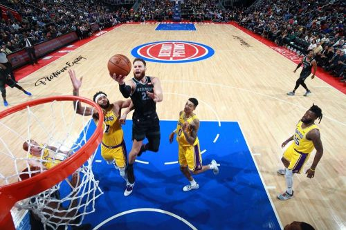Action from Los Angeles Lakers vs Detroit Pistons match