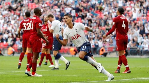 Eric Lamela scores a late goal in their 2-1 defeat earlier this season against Liverpool