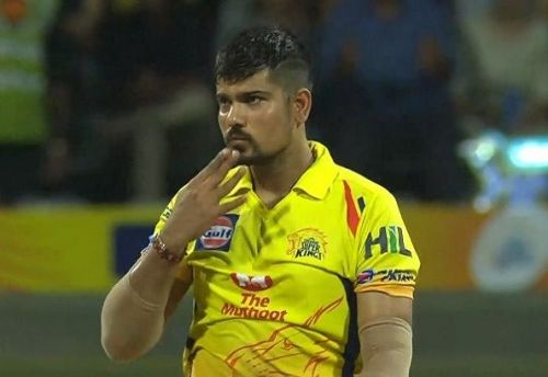 Karn Sharma bowls leg-spin for the CSK
