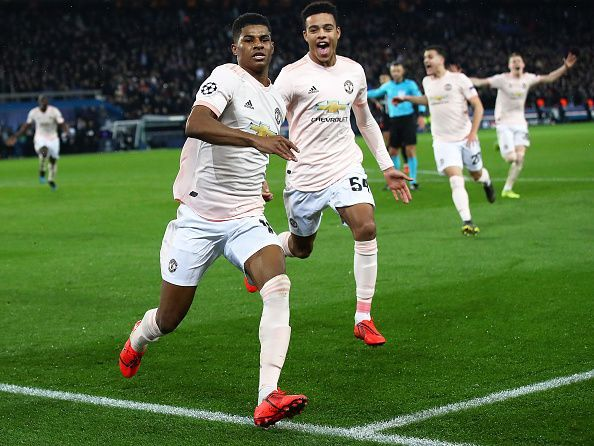 Marcus Rashford after scoring the crucial penalty against Paris Saint-Germain