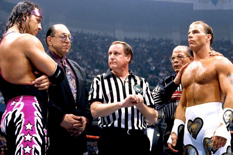 Bret Hitman Hart and Shawn Michaels at Wrestlemania XII