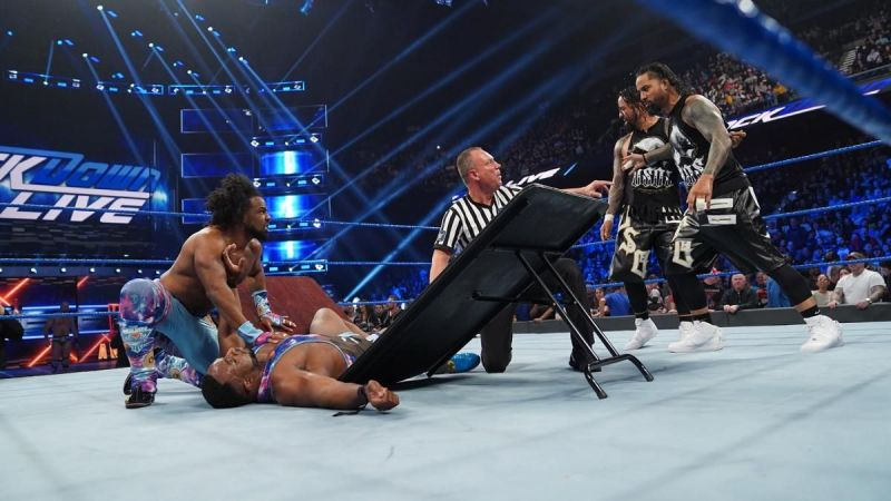 New Day and Usos during the Tag Team Gauntlet match
