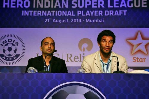A file picture of Kerala Blasters CEO Viren D'Silva with former coach David James
