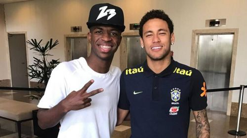 Neymar with Vinicius Junior Neymar posing with the 2013 FIFA Confederations Cup