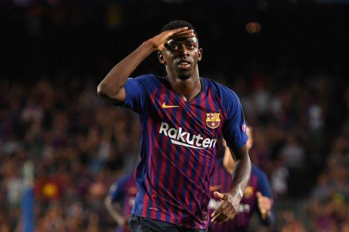 Ousmane Dembélé celebrates vs Valladolid