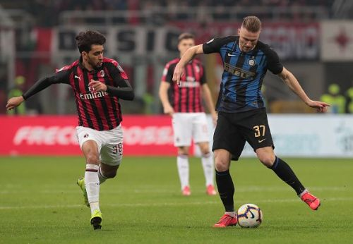 Milan Skriniar in action against AC Milan
