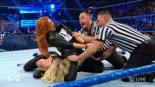 Becky was able to get the better of Charlotte Flair on Tuesday night