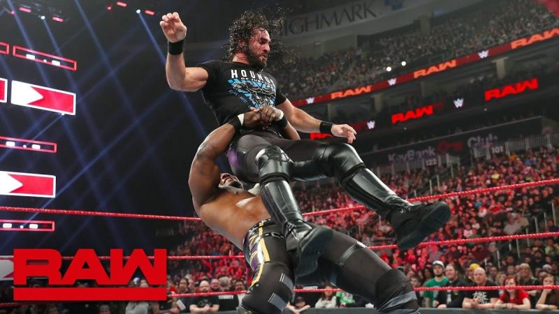 shelton benjamin german suplex to seth rollins
