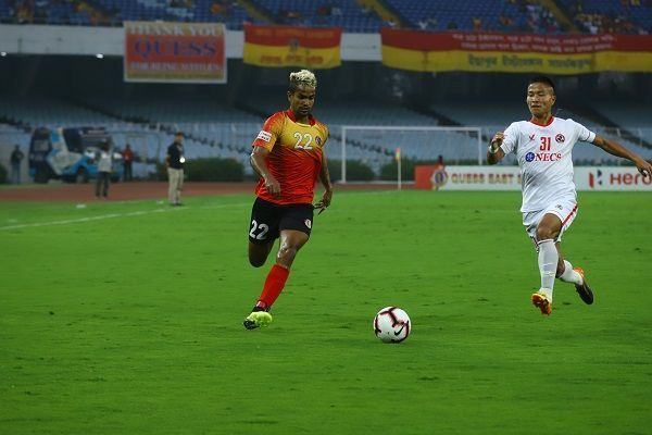 Jobby Justin in action against Aizawl FC