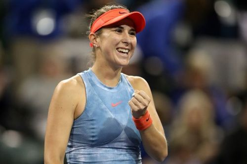 Belinda Bencic celebrates yet another win that advanced her into the semifinals at the BNP Paribas Open
