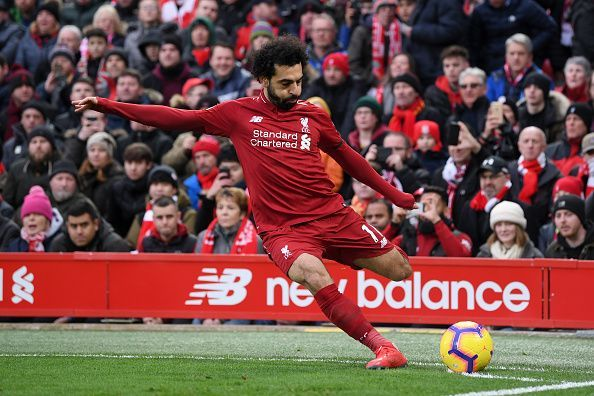 Mohamed Salah in action for Liverpool.