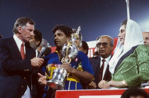 Sri Lankan captain Arjuna Ranatunga with the 1996 World Cup Trophy