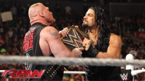 Brock Lesnar and Roman Reigns fight over the WWE Universal title.