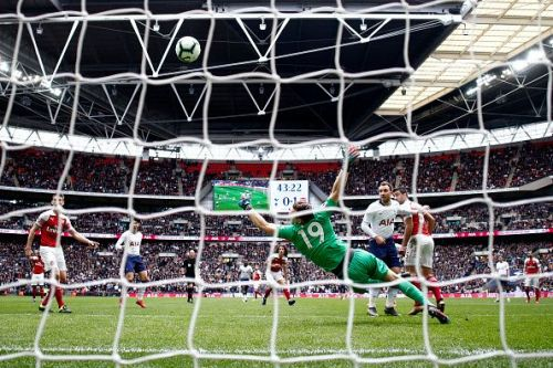 The Arsenal keeper made a terrific double save at the end of the first half