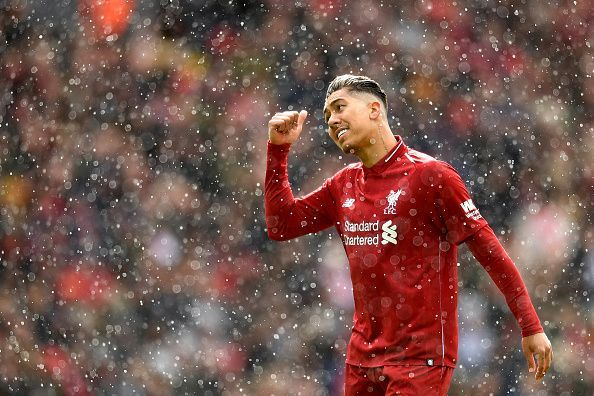 Firmino, who has been struggling for regular goals this term, was in the right place for a brace here