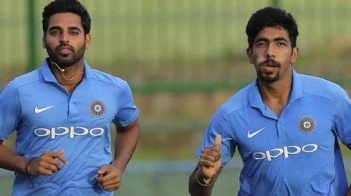 Bhuvneshwar Kumar (L) and Jasprit Bumrah