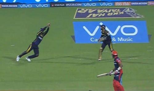 Nitish Rana takes a sharp catch fielding at first slip
