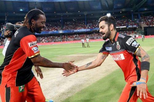 Chris Gayle and Virat Kohli in IPL