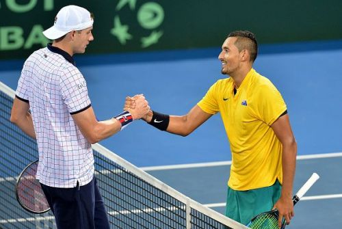 In a face-off between two big servers, Isner meets Kyrgios.