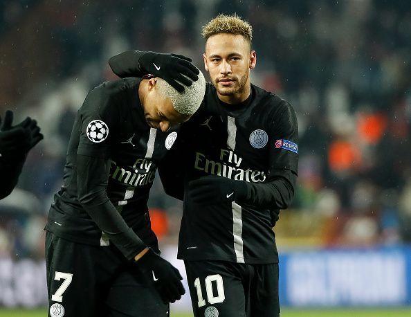 Neymar Jr and Mbappe celebrate against Red Star Belgrade