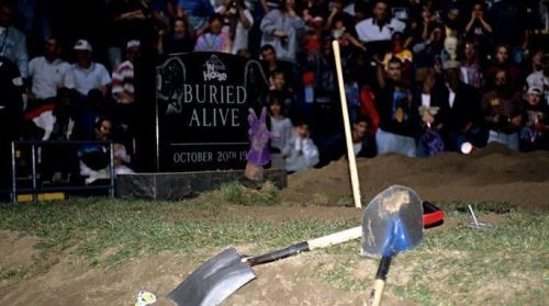 The Undertaker's hand came up from the grave