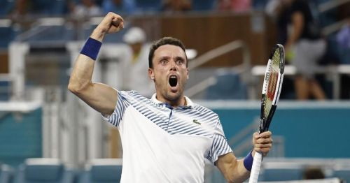Bautista Agut after his victory over Djokovic in the fourth round of Miami Open