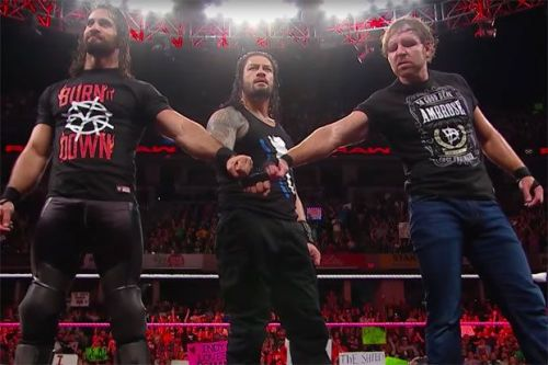 Seth Rollins as the Universal Champion and Dean Ambrose and Roman Reigns as RAW Tag Team Champions!