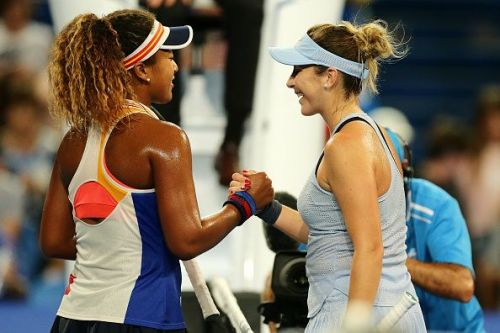 Naomi Osaka and Belinda Bencic at 2018 Hopman Cup