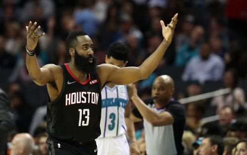 James Harden, pictured here against the Charlotte Hornets, is enjoying a historic season
