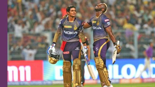 Shubman Gill & Andre Russell after their victory in the previous game