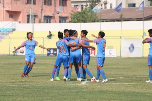 Indian Women's Football Team celebrates after scoring a goal against Bangladesh in the SAFF Cup semis