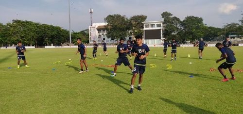 Chennaiyin FC players at a training session in Colombo on the eve of their AFC Cup match