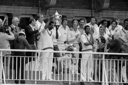Clive Lloyd lifting the world cup trophy.