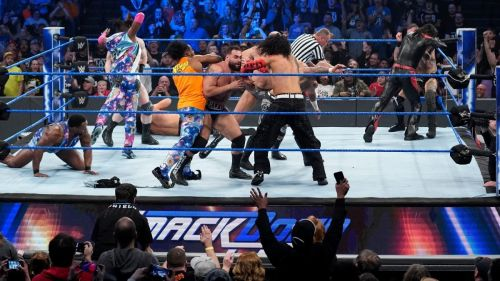 There was chaos during the eight-man tag team match