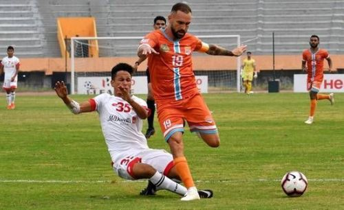 Pedro Manzi (right) converted a penalty for Chennai City against Minerva Punjab