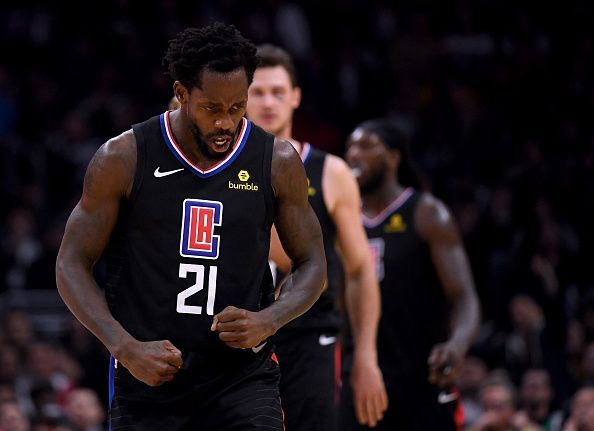Patrick Beverley celebrates during the Clippers