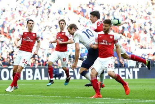 Mustafi in a duel with Harry Kane resulting in a penalty