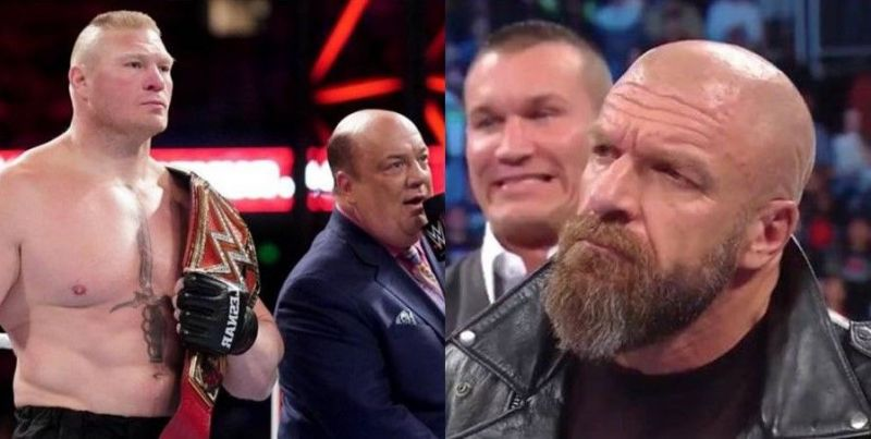 Brock Lesnar could likely face several formidable foes after WrestleMania 35, depending on what the WWE higher-ups including Triple H (far right) have in mind