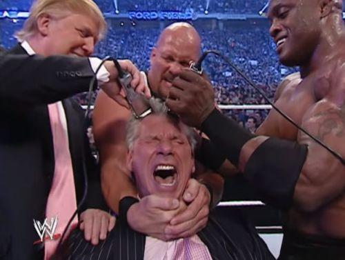 Trump shaving Vince's hair at WrestleMania 23