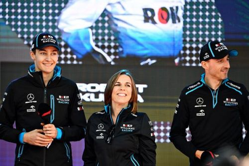 George Russell(l), and Robert Kubica(r) with Deputy Team Principal, Claire Williams