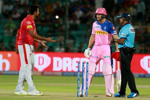 Ravichandran Ashwin and Jos Buttler during the match (credit: iplt20.com)