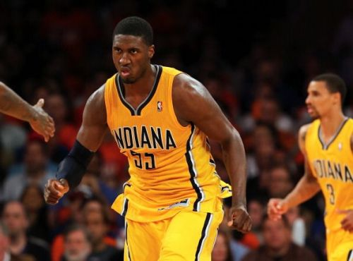 Indiana Pacers' Roy Hibbert in action vs the New York Knicks