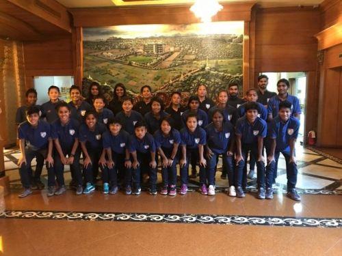 The Indian Women's Football team in Mandalay, Myanmar