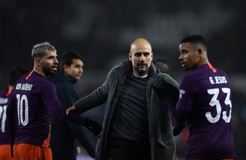 Pep Guardiola at the Swansea City v Manchester City - FA Cup Quarter Final